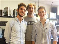 Three of the four Comillas students who participated in Senior Design.