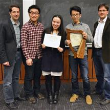 From left, Professor Johnathan Makela, Senior Design teaching assistant Yang Xu, Bratton Senior Design Instructor's Award winners Yingxi Hai and Hanze Tu, and Associate Professor Michael Oelze.
