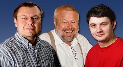 (l to r) Professor Alexey Bezryadin, Assoc. Professor Alfred Hubler, and Postdoc Andrey Belkin