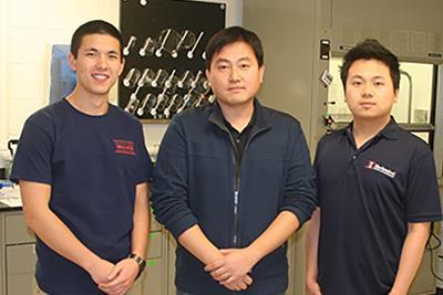 Ryan Han (ISUR scholar), Prof. SungWoo Nam, Michael Cai Wang (graduate mentor)