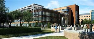 A rendering of the new ECE building as seen from the southeast.