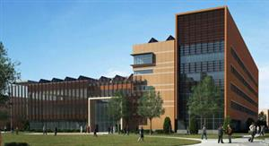 A rendering of the new ECE building as seen from from the northeast.