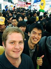 ECE student Paul Mikols (foreground) studied in Taiwan during the Fall 2009 semester. This image was taken at the Taipei Convention Center in Taiwan.