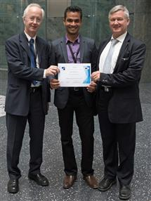Dr. Erich Rome (General Chair, CRITIS 2015), Varun Badrinath Krishna, and Dr. Bernhard M. Hammerli (Chair, CRITIS conference series)