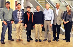 Pictured here, left to right: Gabriel Popescu, Hyunjoon Kong, Martha Gillette, Taher Saif, EBICS Director Roger Kamm of MIT, Rashid Bashir, and Program Coordinator Carrie Kouadio. Photo by Gregory Pluta.