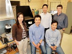 Illinois researchers have developed a more efficient, lower-cost method of manufacturing compound semiconductors such as gallium arsenide for many electronic device applications, including solar cells. The research team, from the left: professor Xiuling Li, student Ik Su Chun, postdoctoral researchers Sungjin Jo and Jongseung Yoon, and professor John Rogers. Photo by Liz Ahlberg.
