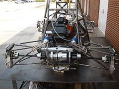 The hybrid formula race car during its construction.
