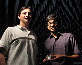 Nikunj Kothari (right) stands with Jacob Adams, his graduate student mentor. Kothari designed and fabricated electrically small antennas as part of the PURE program.