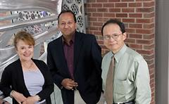 The University of Illinois has received a five-year grant from the NSF to develop the next generation of leaders in the areas of cellular and molecular mechanics and bionanotechnology. From left: Martha Gillette, Rashid Bashir (PI), and Jimmy Hsia. Taher Saif not pictured.