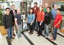 A new collaboration solved a decades-old medical mystery involving an antifungal agent. Pictured, from left: graduate student Grant Hisao; chemistry professor Martin Burke; graduate students Alex Cioffi, Katrina Diaz, Marcus Tuttle, and Mary Clay; chemistry professor Chad Rienstra; and graduate students Brice Uno, Tom Anderson, and Matt Endo. (Photo by L. Brian Stauffer.)