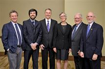 The 2014 LAS Alumni Award winners attended a college reception in their honor. Pictured are Peter Senter, Patrick Walsh, William Banholzer, Laura Bolton, Allan Campbell, and Alan Parsons.
