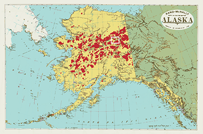 Researchers studied fire activity in a 2,000-square kilometer region of the Yukon Flats in Alaska. The study area lies within the white rectangle on the map. Zones burned in Alaska since 1950 are in red. Graphic by Diana Yates (Alaska Fire Service data)