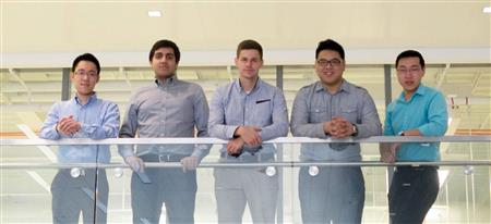 The ExoWear team from the University of Illinois includes (left-right) co-founder William Cheng, who completed his bachelor's degree in civil and environmental engineering; Surya Bakshi, a graduate student in computer science; and Caleb Klaus, Titus Fong, and JJ (Mengda) Qi, who each joined ExoWear after working on the project as part of ECE 445.