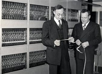 Abraham Taub and Ralph Meagher with ILLIAC I