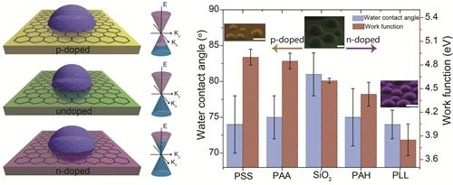 Doping-induced tunable wetting of graphene