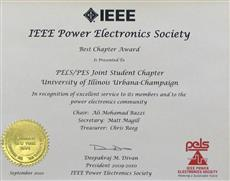 The Illinois IEEE Power Engineering Society and Power Electronics Society (IEEE PES/PELS) Joint Student Chapter won the 2010 IEEE PELS Best Chapter Award.