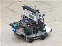 Autonomous Robot Vehicle used in the Mechatronics course GE 423. Equipped with embedded OMAPL138 processor from Texas Instruments. The ARM core runs embedded Linux and the DSP core runs the control algorithms and vision processing. Sensors on the vehicle are LADAR, Camera, wheel encoders, IR and ultrasonic distance, and rate gyro. OptiTrack motion capture camera system is installed in the lab room and uses the five grey balls on top of the vehicle to track the position of the car.