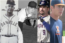 (left to right) Glenn (minor league pitcher coaching The Danville Boosters in photo), Tom (minor league, major league pitcher, seen here pitching for the U of I in 1962), Darrin (former catcher with the U of I and four major league clubs), and Casey Fletcher (during his time at U of I) are all natives of Oakwood, Ill. Casey hopes to carry on the tradition of playing professional baseball (Photos courtesy of Jeanie Cook, AP, University of Illinois Athletics, and Illinois Public Media.)