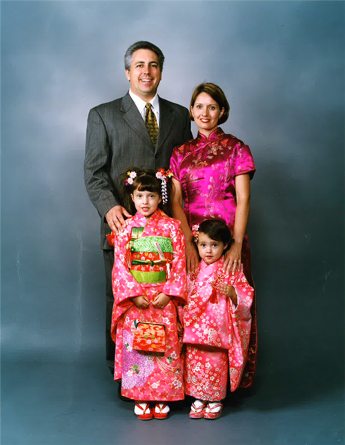 Mark Olson and family at a studio in Japan ca. 2005.