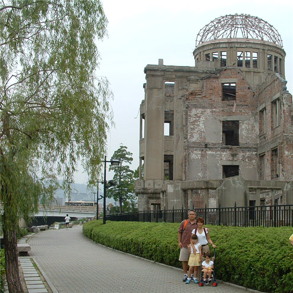 Mark Olson: 'Hiroshima Peace Memorial (Genbaku Dome) 2007. The Hiroshima Peace Memorial (Genbaku Dome) was the only structure left standing in the area where the first atomic bomb exploded on 6 August 1945. Through the efforts of many people, including those of the city of Hiroshima, it has been preserved in the same state as immediately after the bombing. Not only is it a stark and powerful symbol of the most destructive force ever created by humankind; it also expresses the hope for world peace and the ultimate elimination of all nuclear weapons.'