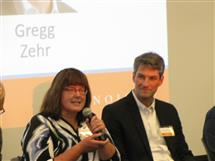 Nancy Warter-Perez and Jerome Hubacek share their experiences during the Distinguished Alumni Panel on Thursday.