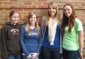 Students in the group designing the multi-level laceration simulator, from left to right, Christina Winter, Lisa McGregor, Shelby Svientek and Megan Silas.