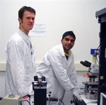ECE graduate students Murali Venkatesan (right) and Nicholas Watkins worked together on a developing a portable AIDS diagnostic platform. For his work on the project, Venkatesan was nominated for the 2009 Lemelson-Illinois Student Prize.