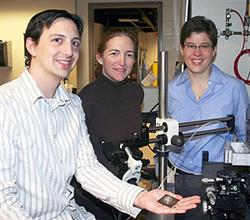 From left: Postdoctoral researcher Jacob Adams with principal investigators Jennifer Bernhard and Jennifer Lewis.