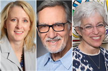 (from left) Elizabeth Pieroth and James Spudich are receiving LAS Alumni Achievement Awards. Deborah Paul is receiving an LAS Dean's Quadrangle Award. (Pieroth and Spudich photos courtesy of the subjects; Paul photo courtesy of the School of Molecular and Cellular Biology.)