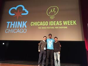 Civic Tech Challenge winners, Team Harry Caray (Luis Rodriguez, Omer Khan and Albert Kuo)