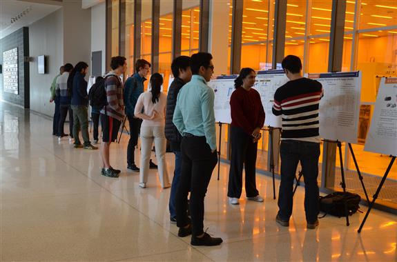 ECE ILLINOIS graduate and undergraduate students showcase their projects in a poster session in the atrium as part of ECE446: Principles of Experimental Research.