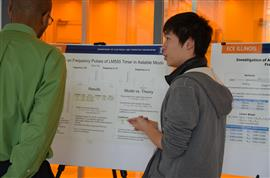 Graduate student Shun Chu puts forth a poster on 'Experimental Study on Frequency Pulses of LM 555 Timer in Astable Mode'.