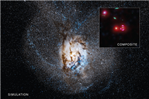 SPT0346-52 is a galaxy found about a billion years after the Big Bang that has one of the highest rates of star formation ever seen in a galaxy. Credit: X-ray: NASA/CXC/University of Florida/J.Ma et al