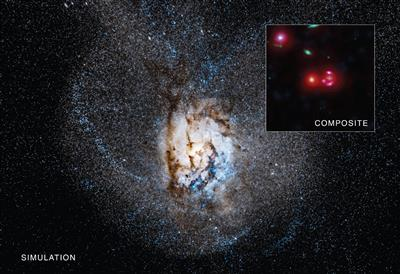 SPT0346-52, a galaxy found about a billion years after the Big Bang, has one of the highest rates of star formation ever seen in a galaxy. Astronomers discovered this stellar construction boom by combining data from Chandra and several other telescopes.   Image credit: X-ray: NASA/CXC/Univ of Florida/J.Ma et al; Optical: NASA/STScI; Infrared: NASA/JPL-Caltech; Radio: ESO/NAOJ/NRAO/ALMA; Simulation: Simons Fdn./Moore Fdn./Flatiron Inst./Caltech/C. Hayward & P. Hopkins