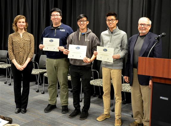 Team 5's 'Cypress Robot Kit' won the Michelle and Alex Bratton Senior Design Instructor's Award. Team members: Alvin Wu, Byung Joo Park, and Todd Nguyen. Also pictured: Katherine Kane (TA) and Professor Swenson.