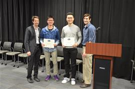 Team 11 won the Area Award for Teamwork for their design of 'Enhanced Security Rotary Pattern Recognition Lock.' Team members: Jingjing Li and Taiming Zhang. Also pictured: John Capozzo (TA) and Professor Makela.