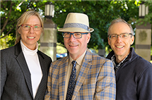 From left, Nancy Sottos, a professor of materials science and engineering, Scott White, a professor of aerospace engineering, and Jeff Moore, a professor of chemistry, have been collaborating in the Autonomous Materials Systems Group.