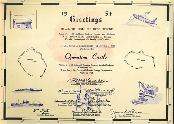 Hildenstein's certificate of participation in the Operation Castle atomic test.