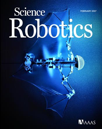 The robotic 'bio-bat' demonstrates self-contained autonomous flight by mimicking morphological properties of flexible bat wings. Cover photo reprinted with permission from AAAS.