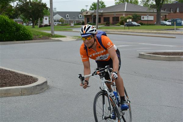 Josh riding into a rest-stop for lunch in Pennsylvania during his 2014 Illini 4000 ride.