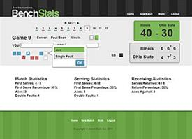 The BenchStats tool enables tennis coaches and players to record and analyze a tennis player's performance. Image courtesy of Rod Serna.
