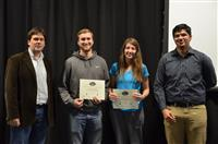 The Area Award for Sports and Recreation is presented to Adam Seppi, Alexandra Wleklinski and Chance Coats for their 'Augmented Beer Pong Mat.' Also pictured: Professor Oelze, Vignesh Sridhar (TA).