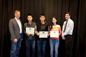 The Area Award for Interdisciplinary Work is awarded to JunJiao Tian, Weicheng Jiang and Jialu li for their 'Camera Positioning System.' Also pictured: Professor Hutchinson, John Capozzo (TA).