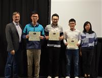 The Area Award for Automation is presented to Anran Su, Suicheng Zhan and Xudong Li for their 'Automatic Cloth Folding Machine.' Also pictured: Professor Hutchinson, Yuchen He (TA).