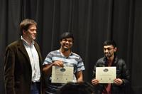 The Area Award for Human Interface Device was given to Jonathan Leal, Mihir Sherlekar and Sriram Raghu for their 'OmniPilot: Drone Piloting Re-imagined'. Also pictured: Professor Oelze.