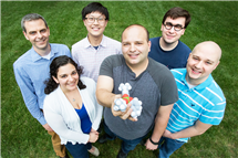 Illinois chemists have developed molecular prosthetics, small molecules that can treat protein deficiencies. Pictured, back row: Chemistry professor Martin Burke, undergraduate students James Fan and Chris Nardone. Front row: graduate students Anna SantaMaria, Anthony Grillo, and Alexander Cioffi.