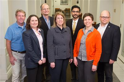 The Carle Illinois College of Medicine�s nearly 100 faculty include prominent researchers, administrators and medical professionals with a broad range of expertise. Pictured, back row, from left: Jeff Woods, professor, College of Applied Health Sciences; Dan Morrow, professor, College of Education; Dr. Priyank Patel, Carle; Wawrzyniec Dobrucki, professor, College of Engineering. Front row, from left: Margarita Teran-Garcia, professor, College of ACES; Susan Martinis, professor, College of LAS; and Janet Liechty, professor, School of Social Work. 