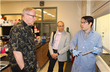 From left: Bob Work, U.S. Deputy Secretary of Defense; Jeffrey Moore, director of the Beckman Institute and the Murchison-Mallory Professor of Chemistry, and Ian Robertson, from the Department of Materials Science and Engineering, during Work's tour of Illinois over Commencement Weekend.