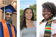 From left: Noman Baig, Kelsey Barry, and Cashmere Cozart are among the latest Lincoln Scholars to graduate from Illinois.