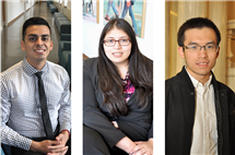 From left: Octavio Herrera, Andrea Salazar, and Shunping Xie are among the latest Lincoln Scholars to graduate from Illinois.